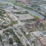 Aerial view of St-Henri and Lachine Canal. 3700 Saint Patrick is just visible at top of image.