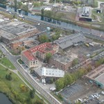 Aerial view of Aberton Lofts (upper left) and surrounding area.